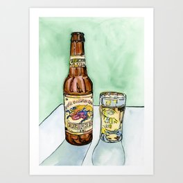 Kirin Beer and Glass Art Print