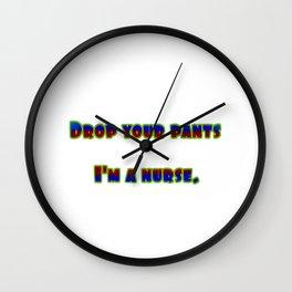 "Funny ""Drop Your Pants"" Joke Wall Clock"