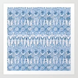 Tribal Owl Feathers in Delft Blue Art Print