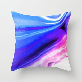 Abstract Agate Blue Throw Pillow