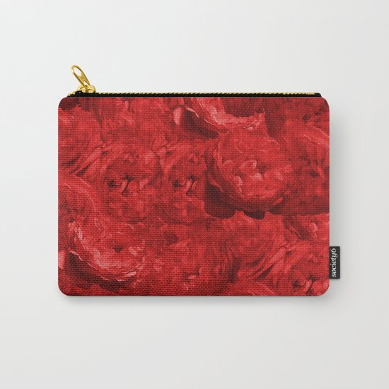 Bed of fire red roses - Rose floral Flowers Carry-All Pouch