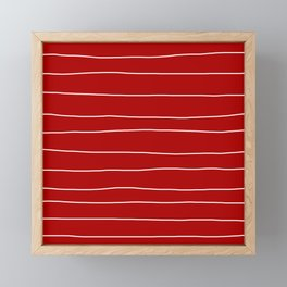 Abstract White Lines on Red Framed Mini Art Print