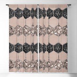 Blush Hexagon Glitter Glam #1 #geometric #decor #art #society6 Blackout Curtain