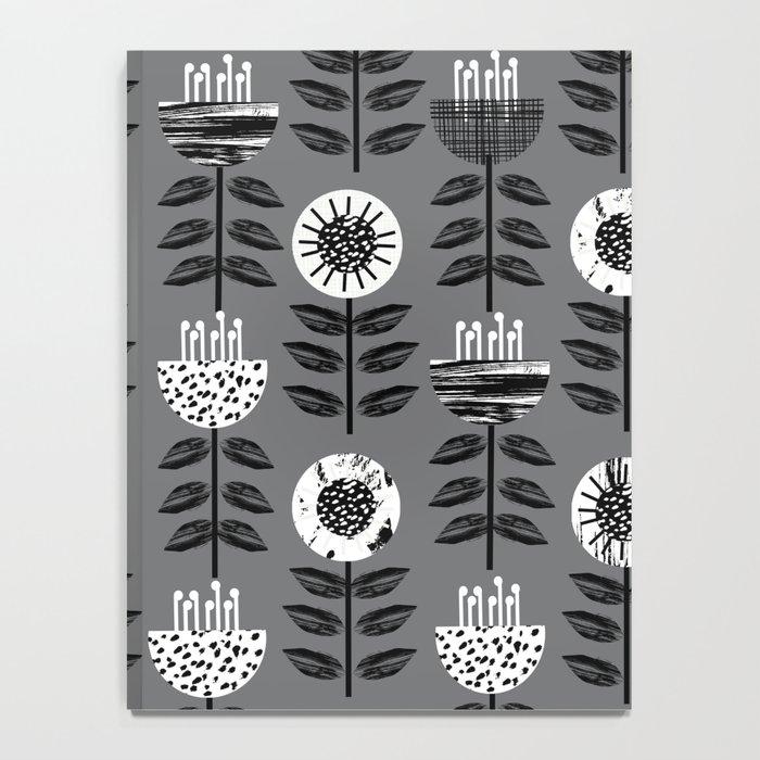 Scandi - modern flower floral pattern scandinavia design retro mid century print monochromatic grey  Notebook