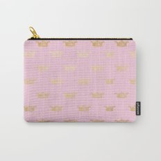 Princess gold crown pattern on pink backround Carry-All Pouch
