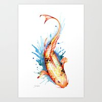 koi Art Prints featuring Koi by Sam Nagel