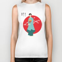 japanese Biker Tanks featuring Japanese Blossoms by RaJess