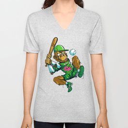 Baseball Monkey - Lime Unisex V-Neck