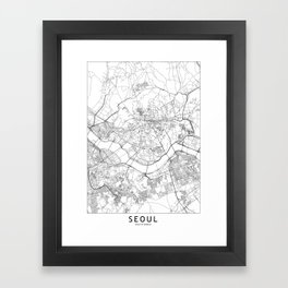 Seoul White Map Framed Art Print
