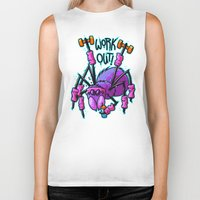workout Biker Tanks featuring Workout Spider by Artistic Dyslexia