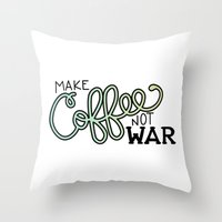 Coffee Not War (Seaside) Throw Pillow