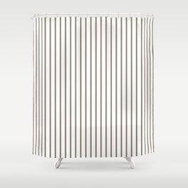 Mulch Brown Pinstripe on White Shower Curtain