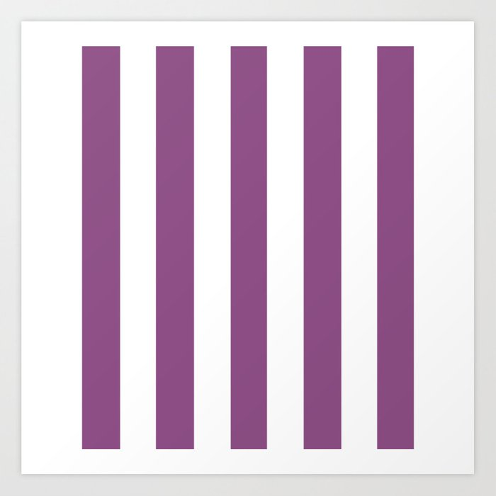 Razzmic Berry Violet Solid Color White Vertical Lines Pattern Art Print