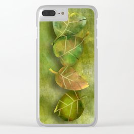 Abstract Green Leaves Clear iPhone Case