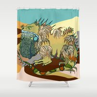 dune Shower Curtains featuring Dune by Maria Paula Quiva