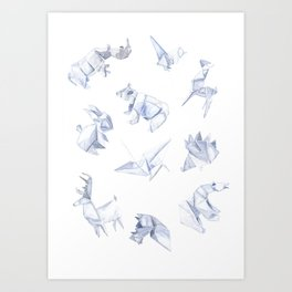 Origami animals Art Print