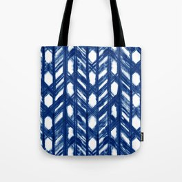 Indigo Geometric Shibori Pattern - Blue Chevrons on White Tote Bag