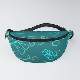 Botanical blue pattern of cobalt plants and grass on azure background. Fanny Pack