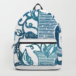 Letter E Antique Floral Letterpress Monogram Backpack