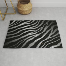 Ripped SpaceTime Stripes - Black/White Rug