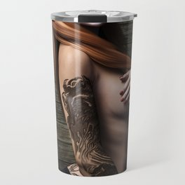 Skull girl with tattoo Travel Mug