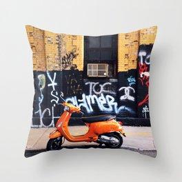 Orange Scooter Throw Pillow