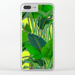 DECORATIVE TROPICAL GREEN FOLIAGE & CHARTREUSE ART Clear iPhone Case