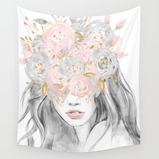She Wore Flowers in Her Hair Rose Gold Wall Tapestry