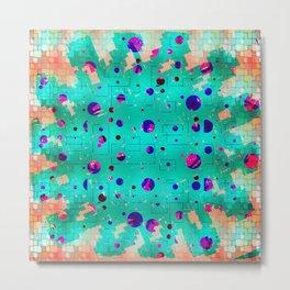 Splatter blue encased Metal Print