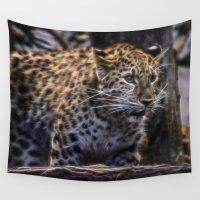 jaguar Wall Tapestries featuring Jaguar  by Veronika