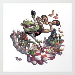 Frog on The Table Art Print