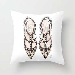 LEOPARD HEELS Throw Pillow