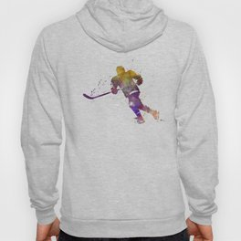 Skater with stick in watercolor Hoody