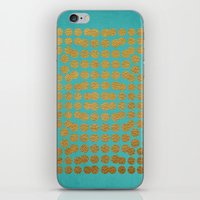 gold dots iPhone & iPod Skins featuring Gold Dots on Turquoise by Sandra Arduini