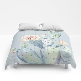 Prettiest Rose Cactus Blue Comforters