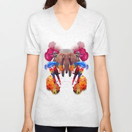 Sacred Elephant Pushes Talented Drivers In the Middle Ages Unisex V-Neck