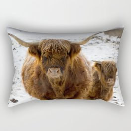 Red long hair cow close up on winter day in norwegian mountains Rectangular Pillow