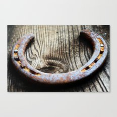 Horseshoe  Rustic brown neutral tones country western Barn close up photography Canvas Print