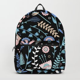 Folk floral pattern / pastel on black Backpack