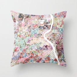 Bordeaux map, france Throw Pillow