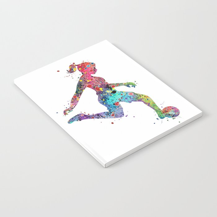 Girl Soccer Player Watercolor Sports Art Notebook