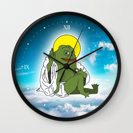 Groyper Jesus Pepe the frog in the sky Kekistan Wall Clock