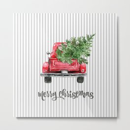 Red Truck With Christmas Tree Metal Print