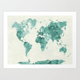 World map in watercolor green Art Print