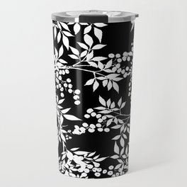 Toile White and Black Tangled Leaves Pattern Travel Mug