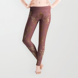Mauve pink faux gold wildflowers illustration Leggings