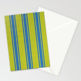 Blue lines on a yellow background Stationery Cards