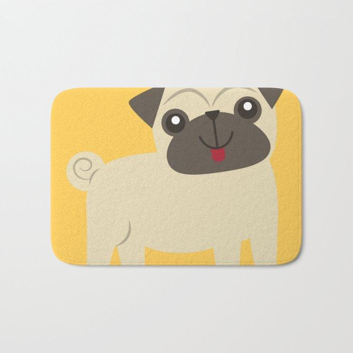 Happy Pug on Mustard Bath Mat