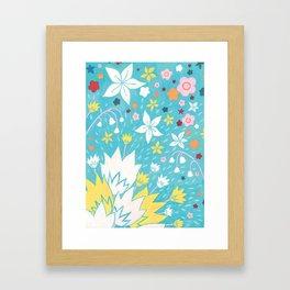 Aqua Lilies Framed Art Print
