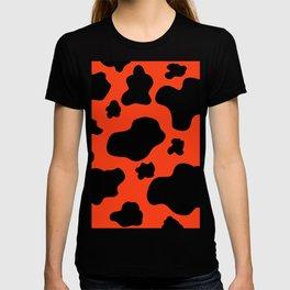 Cow Print Pattern / Bright Red Orange / Black  T-shirt